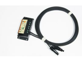 Each portable solar panel includes a charge controller and 3 meters of cable with MC4 connectors